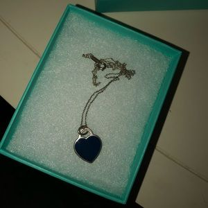 Tiffany and co navy heart tag sliver necklace
